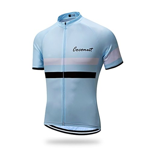 Coconut Ropamo Men's Shorts Sleeve Cycling Jersey Tops Bike Clothing Biking Shirt with 3 Pockets (L, Light Blue) from Coconut Ropamo