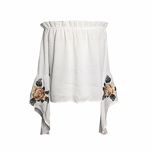 SKY Mujeres Sra chaqueta del collar elástico bordado costura irregular Off Shoulder Long Sleeve Floral Embroidery Party Tops Blouse blanco