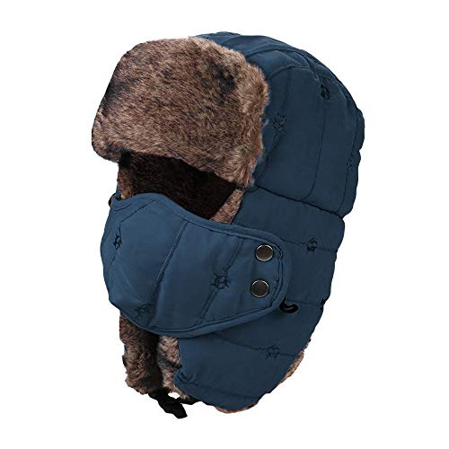 Hat with Ear Flap Chin Strap Faux Fur Windproof Mask Afterso ()