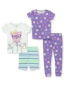 Carter's Girls' 6M-12 4 Piece Multi Science Pajama Set 5T