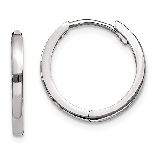 14k White Gold Hinged Hoop Earrings Ear Hoops Set Fine Jewelry Gifts For Women For ()
