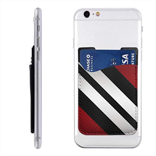 (Red Black Gray Diagonal Stripes 3M Adhesive Ultra Slim Cell Phone Card Holder Back, Stick On Card Wallet Sticker for iPhone Android Smartphones)