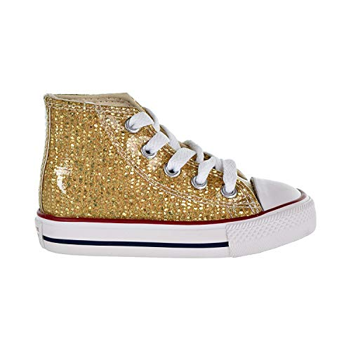 Converse Girls Infants' Chuck Taylor All Star Sparkle High Top Sneaker, Gold/Enamel Red/White, 9 M US -