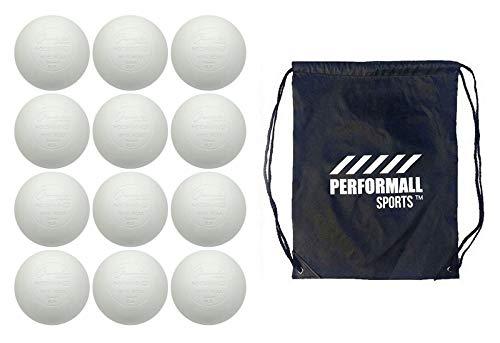 Champion Sports Lacrosse Balls (12-Balls) White NCAA/NFHS/SEI/NOCSAE Bundle with 1 Performall Sports Drawstring Bag