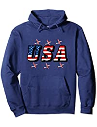 USA Flag Font and Flag Stars Pullover Hoodie