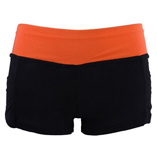 折り目洗う風が強いDovewill 全12色4サイズ 女性 夏 通気性 速乾性 ショートパンツ コットン+ポリエステル 製 スポーツ フィットネス サイクリング ヨガ ショーツ  - ブラックオレンジ, M