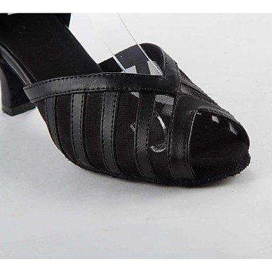 XIAMUO Latein individuelle Damen Sandalen Satin Buckie Dance Schuhe, Schwarz, US 9 / EU 40/UK7/CN41