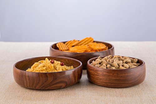 Rusticity Wooden Serving Bowls - Set of 3 | Handmade |(6 in, 7 in, 8 in) by Rusticity (Image #3)