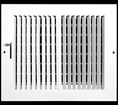 "10""w X 8""h 2-Way-Horizontal FIXED CURVED BLADE AIR SUPPLY DIFFUSER - VENT COVER - Grille Register - Sidewall or Cieling - High Airflow - White [Outer Dimensions: 11.75""w X 9.75""h]"