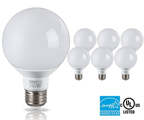 G25 Globe LED Light Bulb, 5W (40W Equiv.), ENERGY STAR, Damp Location Available, 5000K Daylight Vanity Bulb for Pendant, Bathroom, Dressing Room Decorative Lighting, 3-Year Warranty, Pack of 6