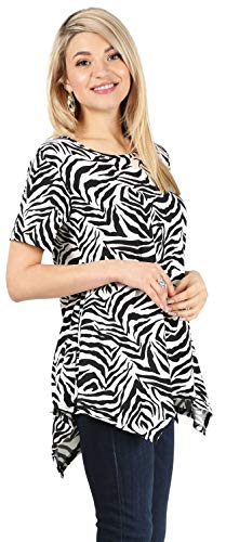 (Womens Basic Tunic Top Reg and Plus Size Short Sleeve Flowy Loose T Shirt - USA (Size XXLarge, Zebra Print))
