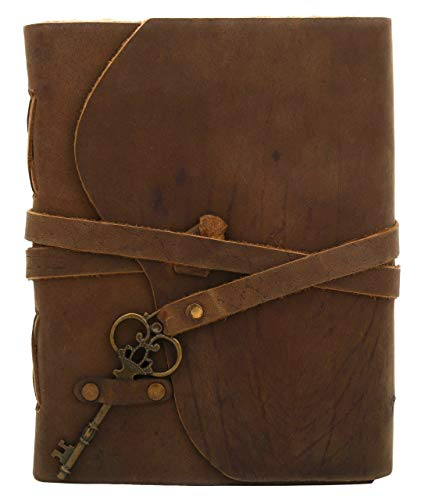 Handmade Leather Journal - Vintage Antique Deckle Edge Paper - Sketchbook - Book of Shadows - Great Gift for Men Women - Leather Notebook 7 X 5 Inches