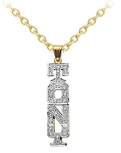Personalized Block Lettering Vertical Diamond Nameplate Necklace Sterling Silver or Yellow Gold Plated Silver by Rylos