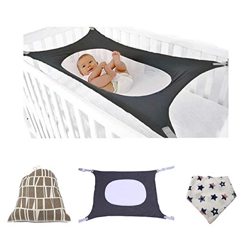 Baby Hammock Baby Womb Infant Safety Bed Hammock for Crib Newborn Bassinet Infant Nursery Travel Bed-Breathable&Strong Material Upgraded Size and Safety Measures Reduce Environmental Risks (Grey) by