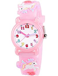 Venhoo Kids Watches 3D Cute Cartoon Waterproof Silicone Children Toddler Wrist Watch Time Teacher Birthday Unicorn Gifts for 3 4 5 6 7 8 Year Girls Little Child-Pink