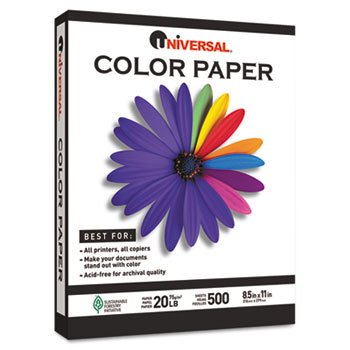 Universal Colored Paper, 20 lb, 8-1/2 x 11, Blue, 500 Sheets/Ream (11202)