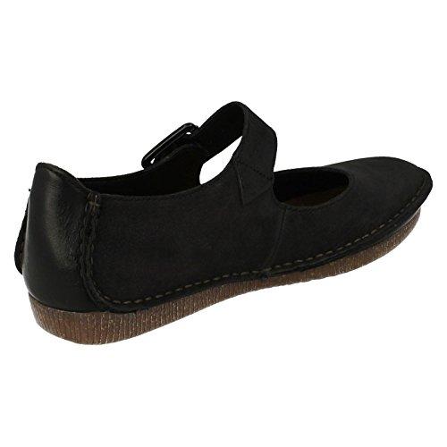 Clarks Janey June - sandalias con cierre al tobillo de cuero mujer Black nubuck