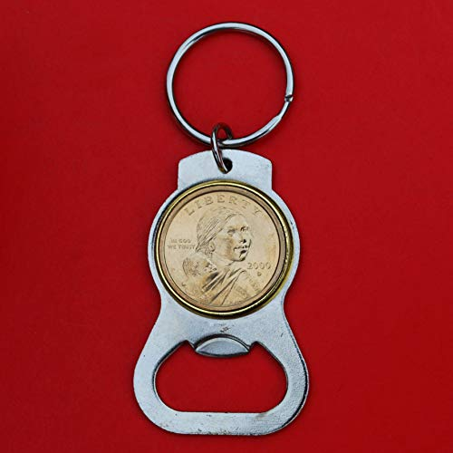 US 2000 Sacagawea Dollar BU Unc Coin Silver Tone Key Chain Ring Bottle Opener - Sacagawea and Her Infant Son