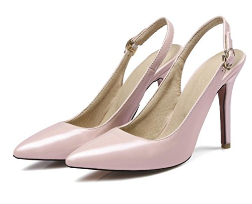 YCMDM donne grandi taglie a righe con tacco alto Sandali a bocca liscia , naked pink , 35