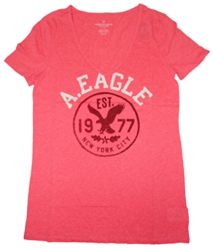 American Eagle Women's V-Neck Shirt Pink, Medium (American Eagle Outfitters Credit Card Payment Address)