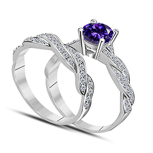 DreamJewels 1.00 CT Lab Created Purple Amethyst Round Shape 14k White Gold Plated Infinity Twist Style Wedding Engagement Bridal Set Ring for Ladies (Twist 25 Gold Plated)