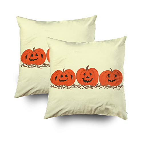 TOMWISH 2 Packs Hidden Zippered Pillowcase Three Happy Pumpkins in hay Halloween 18X18Inch,Decorative Throw Custom Cotton Pillow Case Cushion Cover for Home ()