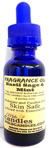 Basil Sage Mint 1oz Glass Bottle of Premium Grade a Fragrance Oil, Skin Safe Oil, Candles, Lotions Soap & More