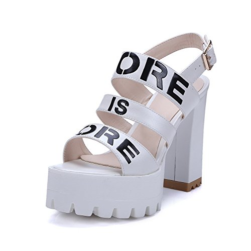 VogueZone009 Women's Open Toe High-Heels Soft Material Assorted Color Buckle Sandals White