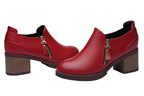 Centenary Red Shoes Womens Walk Chunky Heel Casual Leather Shoes gfrgqvB