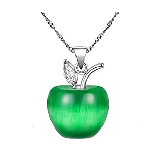 Uloveido Silver Plated Candy Apple Cubic Zirconia Pendant Necklace Earrings Jewelry for Women YL007