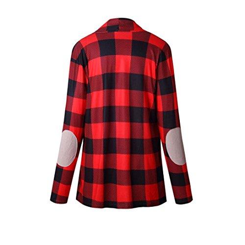 Rojo Internet Blouse Cape abierta mujeres Las escocesa Cardigan rejilla Coat Casual kimono Jacket Loose zrqzOpw