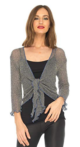 (SHU-SHI Womens Sparkly Metallic Knitted Sheer Shrug Cardigan Bolero Top One Size Fits Most)