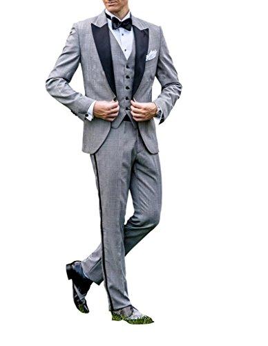 Suit Me Hommes Plaid 3-pi¨¨ces costume tuxedo costume de bureau d'affaires pour les mariages Party pantalons vestes de gilet