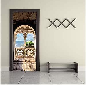 Imitation 3d Door Stickers Portuguese Seaview 3d Creative Bedroom Living Room Wooden Door Renovation Door Stickers