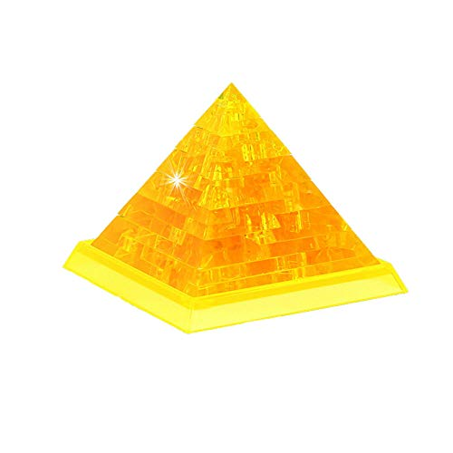 callm Building Blocks Pyramid 3D Building Blocks Pyramid Crystal Puzzle Cute Pyramid Model DIY Gadget Blocks Building Toy Gift (Golden)
