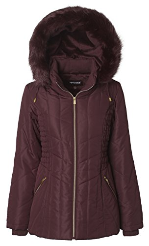 Sportoli Women's Midlength Ruched Detail Plush Lined Puffer Coat with Zip-Off Detacheable Fur Trim Hood - Bourgogne with Shiny Gold (1X) - Quilted Side Zip Coat