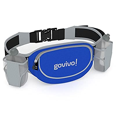 Running Hydration Belt for iPhone 6 Plus, Runners Waist Pack Includes 2 BPA Free 9oz Water Bottles by Govivo (blue)