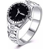 patcharin shop Fashion Women Pocket Finger Ring Round Case Watch Ring Silver Ring Jewelry Gift (8)