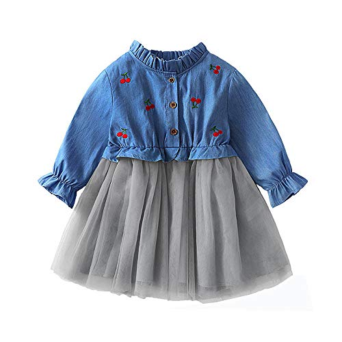 Toddler Girls Denim Long Sleeve Cherry Embroidery Dress Princess Tutu Dress Cowboy Clothes -