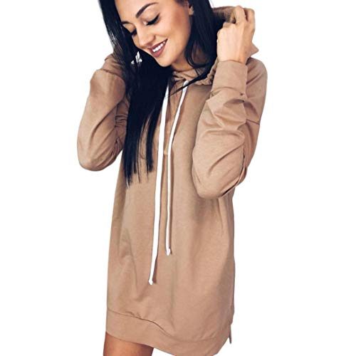 Kimloog Clearance!Women Autumn Long Sleeve Solid Color Tunic Hoodie Dress With Side Split (M, Khaki)