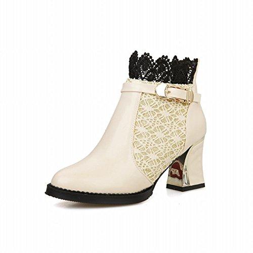Carolbar Womens Elegance Fashion Charms Sexy Gesp Rits Lace Mid-hiel Jurk Laarzen Beige