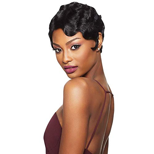 Outre Remy Human Hair Lace Front Wig Velvet Swiss Lace L Part Finger Wave -