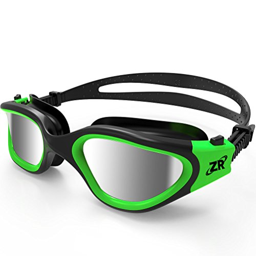 Swimming Goggles, ZIONOR G1 Polarized Swim Goggles with Mirror/Smoke Lens UV Protection Watertight Anti-fog Adjustable Strap Comfort fit for Unisex Adult Men and Women, - Goggles Swimming Green
