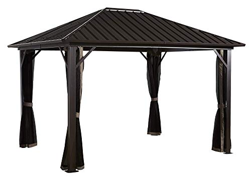 Sojag 10' x 14' Genova Hardtop Gazebo 4-Season Outdoor Shelter with Mosquito Net, Black,Brown