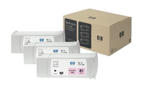 HP 81 C5071A 3-Pack Ink Cartridge for DesignJet 5000 seri...