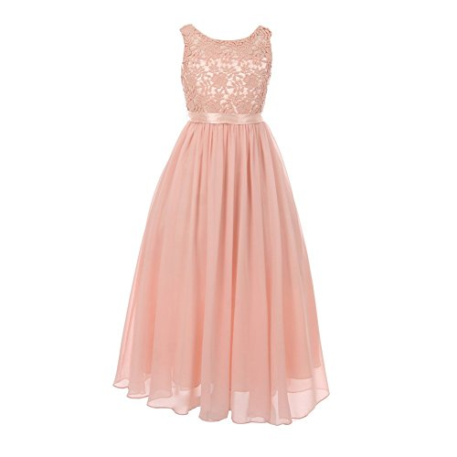 Spring Dresses Junior (Cinderella Couture Big Girls Blush Satin Sash 3D Lace Chiffon Stylish Junior Bridesmaid Dress 10)