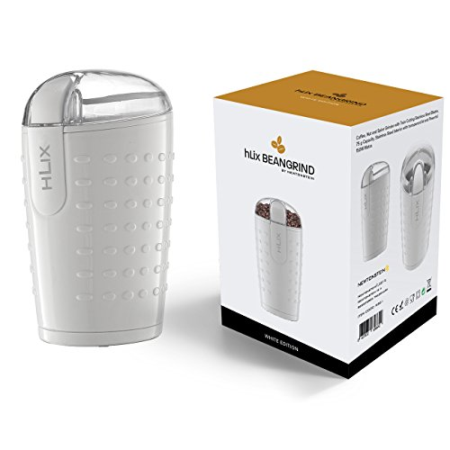 HLix BEANGRIND - White - Coffee, Nut and Spice Grinder with Twin Cutting Stainless Steel Blades, 75 g Capacity, Stainless Steel Interior with transparent lid and Powerful 150W Motor.