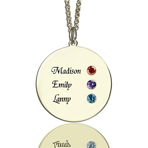 (Personalized Custom Discs Necklace with Birthstones for Mom in Silver - Personalized with 3 names(silver-plated-base 20))