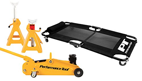Performance Tool W85030 2 Ton (4,000 lbs.) Floor Jack, Creeper and 2 Ton Jack Stand Pair (4,000 lbs) Garage Starter Set