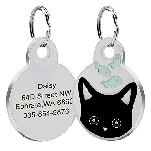 Didog Personalized Cat ID Tags with Kitten Face &Fish Patterns, Custom Engraved Pet ID Tags for Kitten and Small Medium Dogs,Black